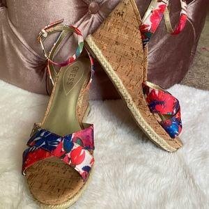 Guess Cork Espadrilles Wedges Heels Shoes sz 8